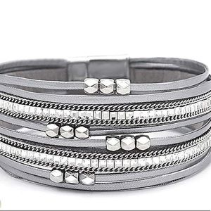 LEATHER MULTI LAYERED CRYSTAL WRAP CUFF BRACELET